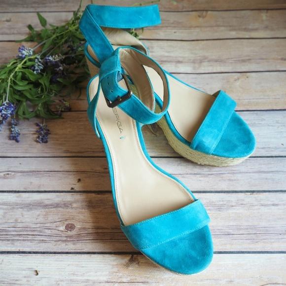 Via Spiga Turquoise Suede Wedge Heels